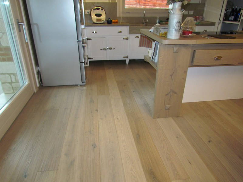 Casa privata Montorso Vicentino Pavimento in legno Fiemme 3000 Rovere argento variegato piallato a mano
